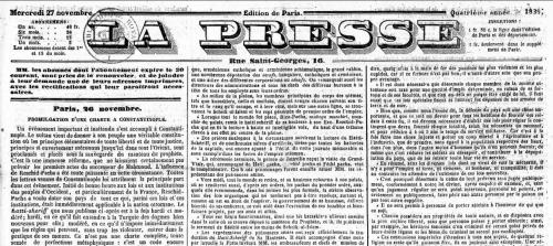 Le Journal La Presse, publié le 27 novembre 1839