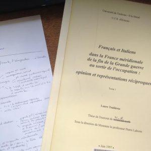 Ma référence première : la thèse de Laure Teulières sur l'immigration italienne dans le Sud-Ouest. (Photo Raphaëlle Talbot)