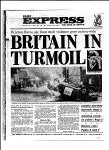 """""""La Grande-Bretagne dans la tourmente"""" Une du Daily Express, 11 juin 1981"""